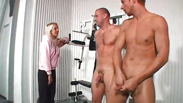Blonde girl catches men having gay sex in the gym
