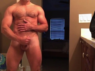 hunky dad jerks off in bathroom