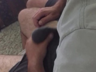 Playing with dad's bulge